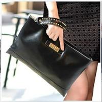 New 2014 fashion brand women clutch bag Ladies genuine leather envelope clutch handbag messenger bag black red