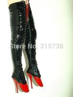 Free shipping,2015 New Arrival Ballet Overknee High Heels Fetisch PU18cm boots,black matching red