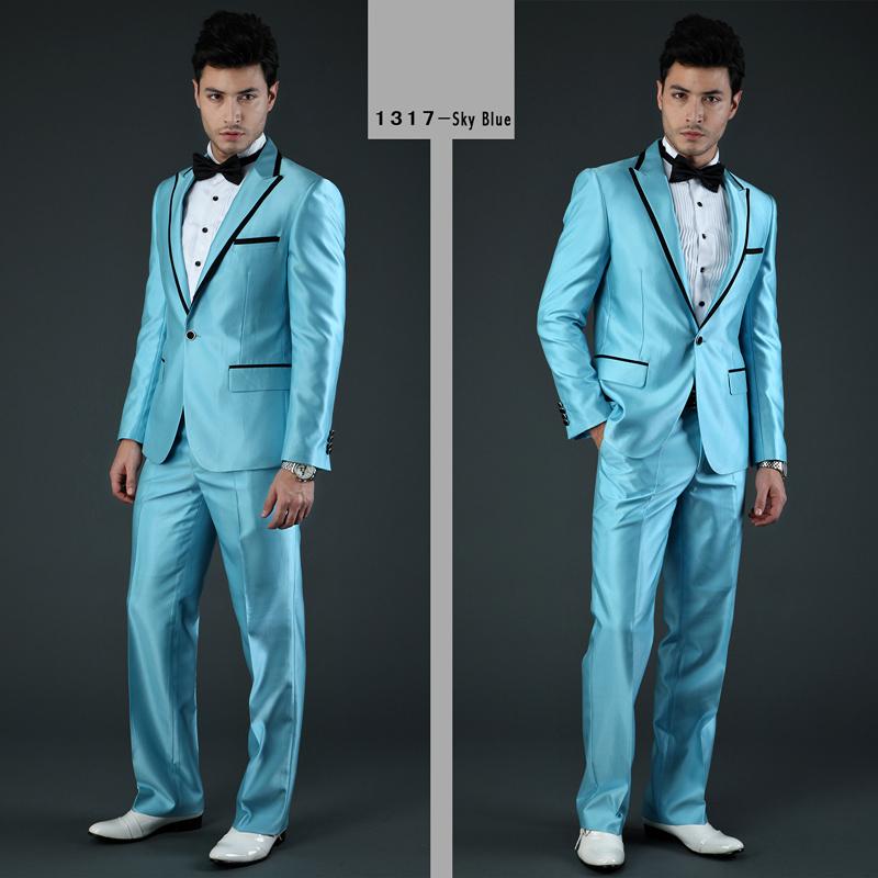 Top Brand Men Suits Business Suits Pink Blue Yellow Wedding Tuxedo