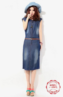 DS0120 Free Shipping 2013new arrival summer Korea STYLE One-Piece thin elegance Dumbo Long sleeve denim dress high quality