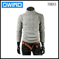 New Winter Men's Sweater Korean Warm Knitting sweater High collar Sweater Gray Dark Gray