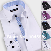 On sale Men New fashion casual cotton blends slim fit long sleeve Tribute pin dress shirts for men plus size 2013 XS-3XLBZ09