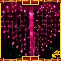 Free Shipping 1.5 * 1.38 M 128 Leds Christmas Lamp Wedding Decoration Heart Shape Curtain Lighting String