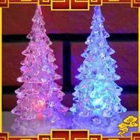 Free Shipping 2pcs/lot Seven Color Allochroism Lighting Acrylic Romantic Christmas Tree Small Night Light