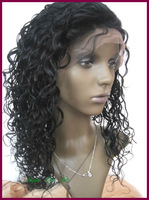Free ship Short African American virgin brazilian hair for black women human hair curly front lace wig&glueless full lace wig