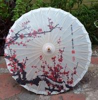 Free shipping Chinese handmade oiled paper umbrella waterproof sunshade and decoration gift dance umbrella red plum blossom