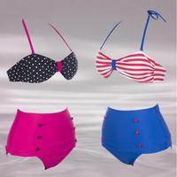 Retro Swimsuits Suits Swimwear Vintage Bandeau High Waisted Bikini Set s M L XL