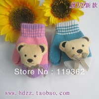 2013 Nes Arrive Free Shipping Winter Fashion Cartoon Child Thermal Gloves Bear Child Fingers Gloves