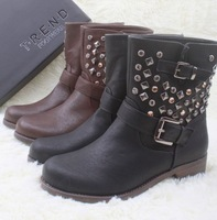 Fashion rivet boots round toe fashion boots motorcycle boots martin boots small yards 8