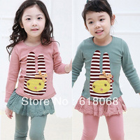 Free Shipping 2013 Autumn Baby Child Cheap T-shirt Wholesale 5pcs/lot Girls Embroidery Rabbit Long-sleeve Basic-shirt Sweatshirt