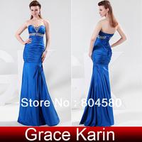 Free shipping!Gorgeous Grace Karin Strapless Taffeta Ruffle Ball Evening Gown Prom Wedding Banquet Party Dress  Blue CL4467