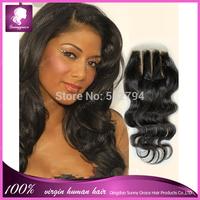 New 3 part lace closure virgin remy Cambodian human hair lace hair closure bleach knots body wave closure