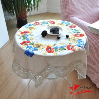 HETAIYIYUAN Мода вышитые скатерти маленький цветок деревенском ручной вышивкой столовая скатерти покрытие стола 82 x 82 см