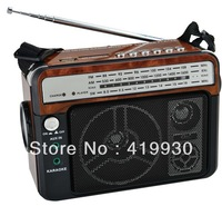 Free shipping Portable FM/AM/SW 3 Band Radio with Torch Light/Recharge Battery support Aux in/Karaoke/USB/SD Card/Recording