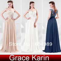 Free Shipping 2014 New Arrival GK Stock Full Length Chiffon Ball Evening Prom Party Gown Dresses 8 Size US 2~16 CL4473