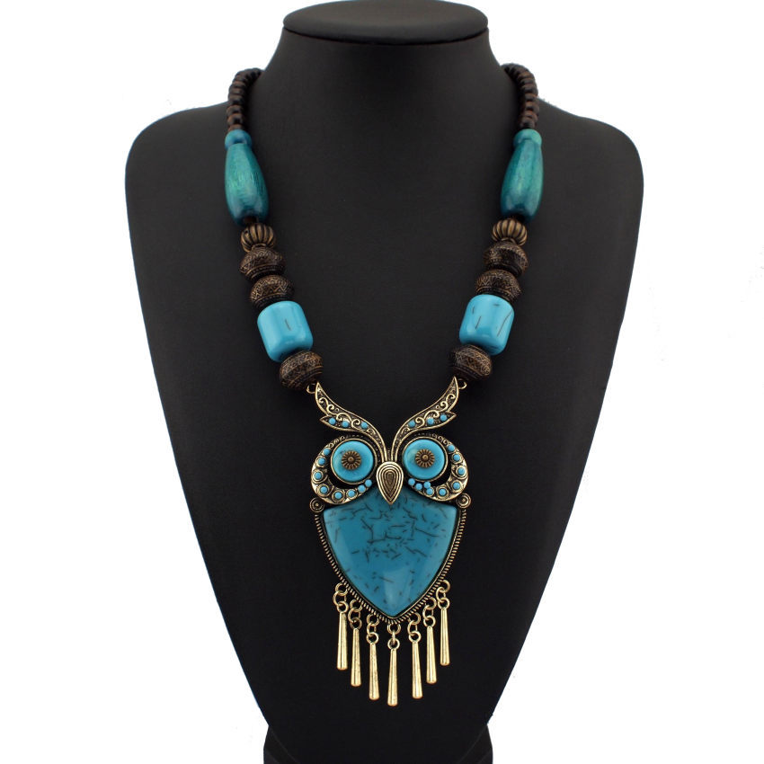 Fashion Tibetan Style Women Statement Necklaces Wood Chains Resins Big Owl Necklaces & Pendants Boho Jewelry For Dress CE1272(China (Mainland))