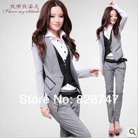 Spring Autumn 2014 New HOT Selling women's Waistcoat Pants OL occupation fashion leisure suit Two Piece Suit, Cheap wholesale