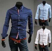 Fashion Cool Men's Luxury Casual cotton Slim Fit Stylish Long Sleeve Shirt 3  Colors 5 Size B19 16973