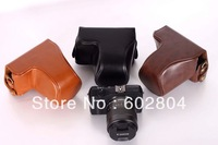 Wholesale!!Great camera case bag fit  for Canon EOS M ( 18-55mm zoom lens ) eosm PU leather case bag brown / black
