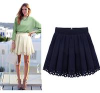 2013 European Summer Fashion Brand Women Mini Skirt Lace Pleated Short Dark Blue White Sexy Club Design Woman Skirts Plus Size