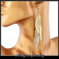 Fashion Simple long earring gold silver chain Alloy leafs drop Earrings for women girls ear jewelry to gift hot promotion