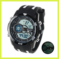 Cool Durable Analog-Dightal Dual TIme Waterproof Date Back Light Calendar Rubber Silicon LED Sport Wrist Watch for Man Boy