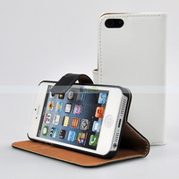Credit Card Wallet Stand Genuine Folio Flip Leather Case for iPhone 5 5S by DHL 200pcs/Lot