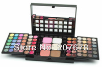 Free Shipping 78 Color Eyeshadow Palette Set 48 Eyeshadow + 24 Lip Gloss +6 Foundation face powder/Blush Makeup Kit Cosmetics
