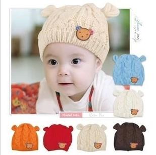 Big Discount! 2014 New Baby Hats Cartoon Label Bear Ear Cap Fashion Autumn Winter Hat Children Hat Girls Boys Retail(China (Mainland))