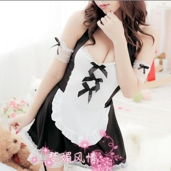 free shipping Gift Cosplay Sexy underwear set the temptation maid uniform ktv princess clothes work wear hot lingerie