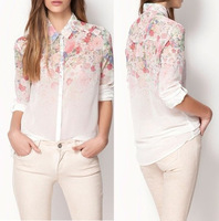 2013 New Fashion ZA Women's Vintage Chiffon Semi Sheer Bloom Floral Flower Print Top Shirt Blouse Free shipping