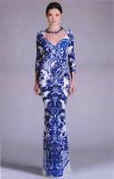 Quality Assurance Top Grade Fashion Blue Plant Print Slim Sexy Long Bodycon Dress Women