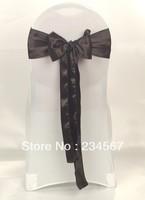 100pcs black satin chair sash bow ribbon wedding party banquet decoration free shipping