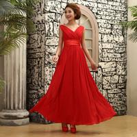 Bride formal dress double-shoulder long design V-neck chiffon  evening dress formal dress banquet dress free shipping