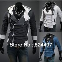 Fashion Mens Slim Fit Irregular Zip Up Hoodies Jackets Coats Multicolor Free Shipping N0181