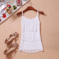 2013 free shipping autumn exquisite lace layers of cake lace small vest women's basic shirt solid lace tank top