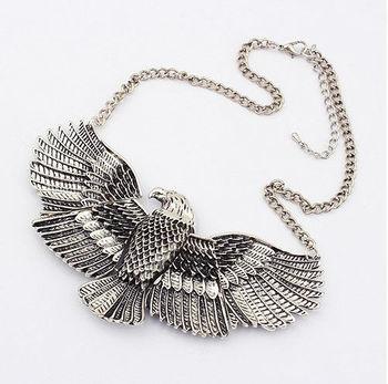 Retro Owl Hawk Eagle Expanded Fly Wings Birds Choker Bib Necklace