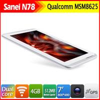 In Stock New Cheap Tablets N78 Tablet  PC Qualcomm MSM8625 Dual Core 1.2Ghz 3G Dual Camera Bluetooth Wifi OTG RAM 512MB ROM 4GB