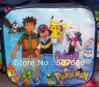 Free Shipping  1pcs High Quality Nylon Cartoon Pokemon Lunch bag (including a lunch box)