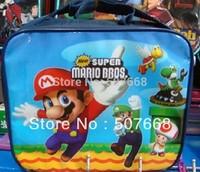 Free Shipping 1pcs High Quality Nylon Cartoon Super Mario Bros Lunch bag (including a lunch box)
