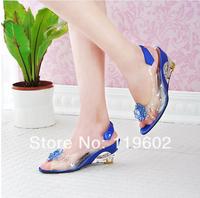2013 women's summer shoes transparent crystal wedges shoes elegant gentlewomen high-heeled open toe sandals