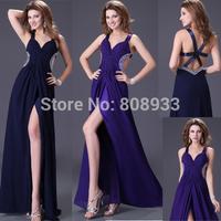 Sexy Women V Neck Straps Backless Split Navy Blue,Purple Evening Dress Sequin Slim Prom Party Long Maxi Chiffon Dresses CL4100
