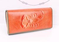 New style super star Genuine soft Leather Scorpion pattern personality design women lady wallets purse handbag free shipping