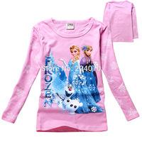 Frozen Princess Anna and Elsa kids baby girls t shirts Frozen long sleeve t shirt 100% cotton child girl t shirt free shipping