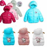 Retail! 2013 new 1size/1lot !hello kitty girls vest Children's coat, baby girls clothes.90-130 Children's vest,free shipping