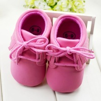 Wholesale and Free Shipping! Lovely Tassel Style Rose Red Thicken Baby Girls Shoes First Walker Footwear