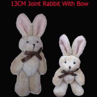 Wholesale H=13cm Teddy rabbit bear bow tie rabbit joints cartoon bouquet doll plush toy pendant lanyard 40pcs