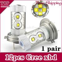 Free Shipping 2pcs/lot  h7 60w High Power Cree Vehicles Car Turn Auto Foglight Bulbs auto 12V 24V DC