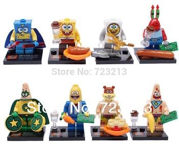 Spongebob Big Star Crab Boss Squarepants Figures 8pcs/lot Building Blocks Sets Model Bricks Classic Toys For Children