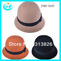 2013 Free shipping 100% Wool Elegant bowler hat  Women Soft CLOCHE HAT Women's felt Cloche Hat Party Clothing Accessories 107
